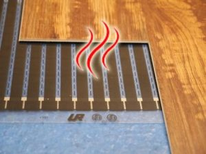 Underlay for underfloor heating laminate