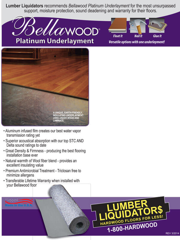 Plantinum Underlayment Sample Spec Card