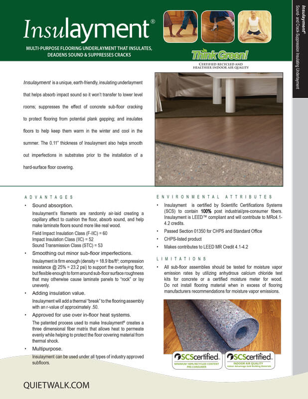 Insulayment - Specifications