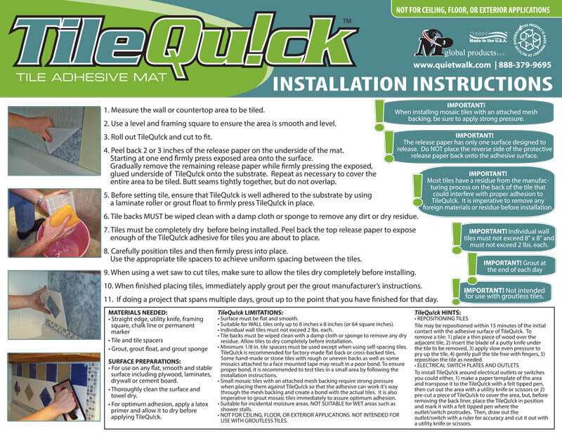 TileQu!ck - Installation Instructions