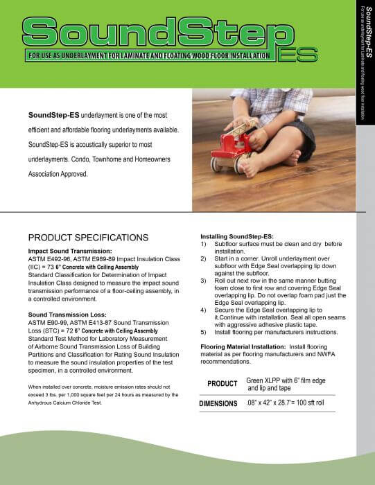 Sound Step ES Green Spec Sheet