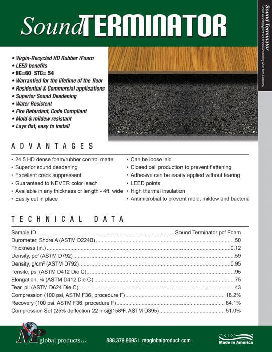 Rubber Underlay - Sound Terminator Specifications